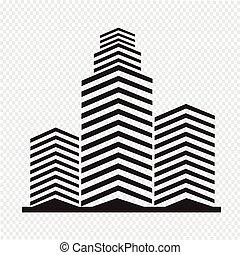 byggnad, kontor, ikon