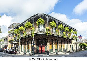 byggnad, kvartal, historisk, fransk