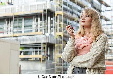 byggnad, kvinna, stämm, hus, främre del, färsk