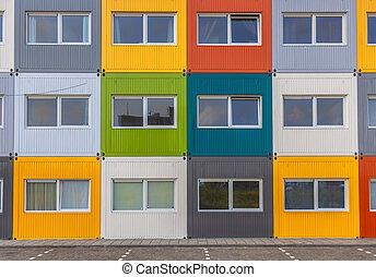 byggnad, lägenhet, färgrik