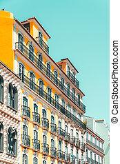 byggnad, lägenhet, portugal, färgrik, fasad, lissabon