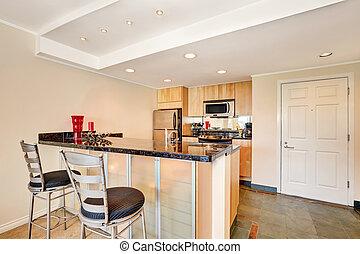 byggnad, lägenhet, praktisk, interior., liten, seattle, kök