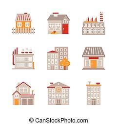 byggnad, lägenhet, stil, sätta, ikonen, begreppen