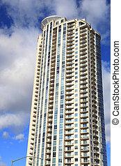 byggnad, lång, lägenhet
