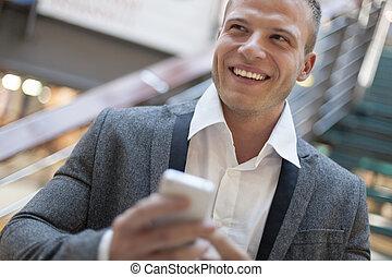 byggnad, le, smartphone, affärsverksamhet herrar