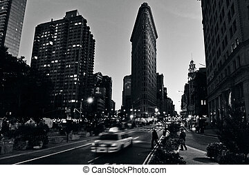 byggnad, manhattan, järn, stad, york, lägenhet, färsk