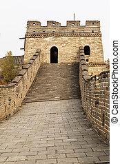 byggnad, mutianyu, ivrig, torn, väg