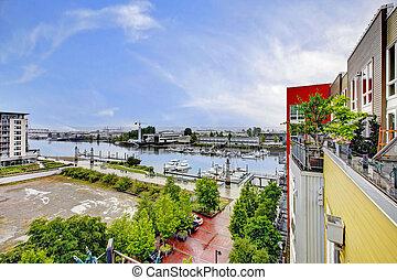 byggnad, nymodig, marina., synhåll, tacoma., balkong