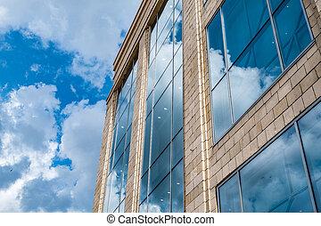 byggnad, nymodig, skyn, bakgrund