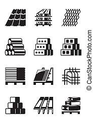 byggnad, och, konstruktion, material