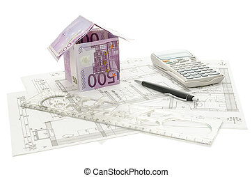 byggnad, pengar, plan, arkitektonisk, hus