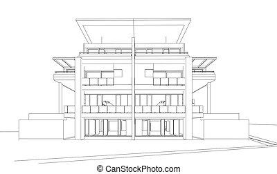 byggnad, perspektiv, render, 3