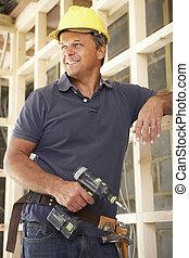 byggnad, ram, arbetare, konstruktion, nytt hem, virke