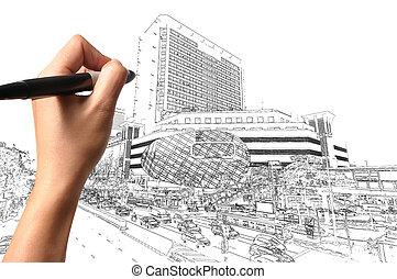 byggnad, rita, affär, nymodig, hand, stadsbild, man
