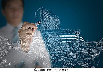 byggnad, rita, affär, nymodig, stadsbild, man