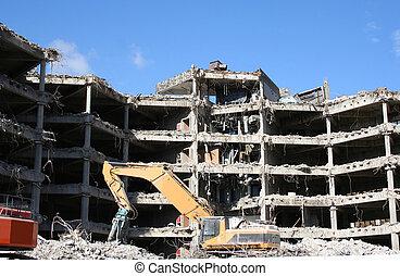 byggnad, rivning, under
