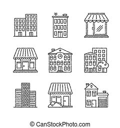 byggnad, skiss, sätta, ikonen, stil, vektor