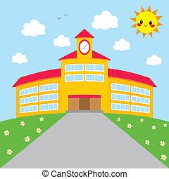 byggnad, skola, baksida