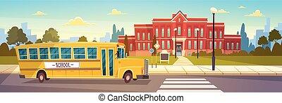 byggnad, skola, elever, buss, gul, främre del, transport
