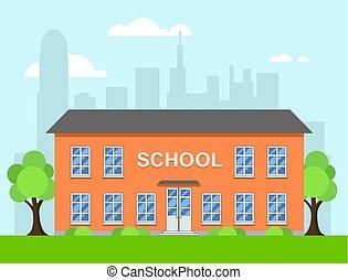 byggnad, skola, vektor, tecknad film, illustration