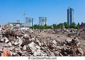 byggnad, skräp, bakgrund, förstörd, bebyggelse, hög, färsk