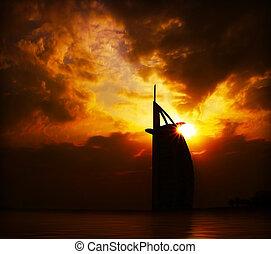 byggnad, solnedgång, dramatisk, silhuett