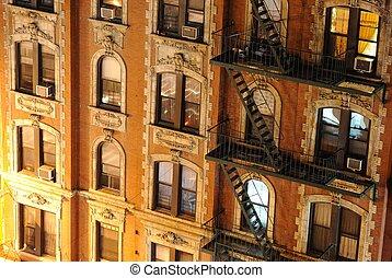 byggnad, stad, lägenhet, uppe, york, färsk, nära