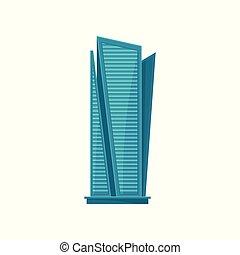 byggnad, stad, nymodig, illustration, horisont, vektor, bakgrund, skyskrapa, vit