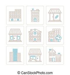 byggnad, stil, sätta, ikonen, mono, tunn, begreppen, fodra