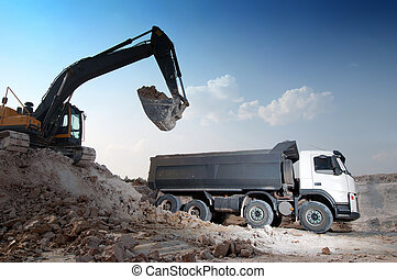 byggnad, stort, material, ladda, lorry