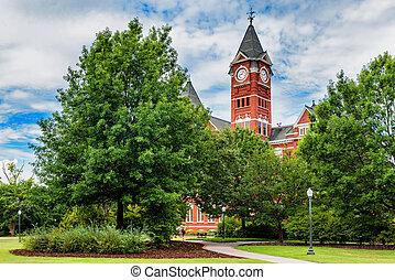 byggnad, universitet, ala, rödbrun, historisk, rödbrun,...