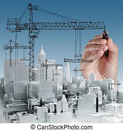 byggnad, utveckling, begrepp