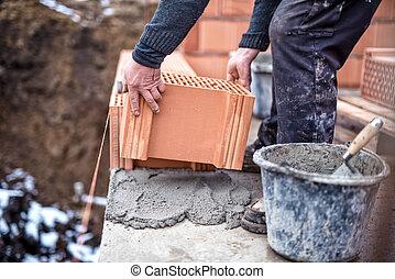 byggnad, vägg, mortel, murslev, arbetare, plats, hus, konstruktion, cement, färsk, tegelsten