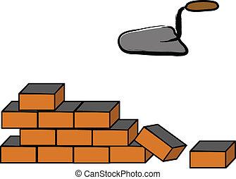 byggnad, vägg, tegelsten