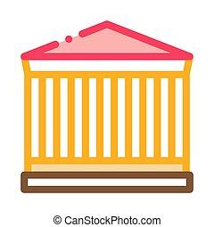 byggnad, vektor, illustration, ikon, skissera, grekiska ...