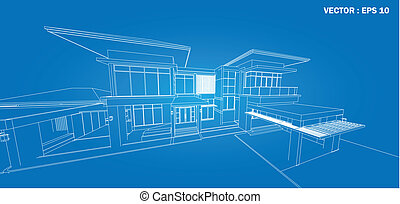 byggnad, wireframe, render, 3