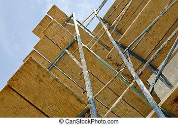 byggnadsställning, uppe, färsk, konstruktion, hem, nära