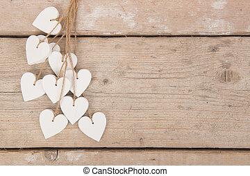 byggnadsställning, utrymme, trä, text, bakgrund, hjärtan, vit