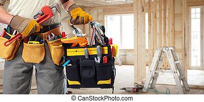 bygmester, handyman, hos, konstruktion, tools.