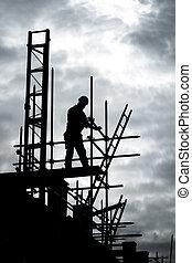 bygmester, på, skafot, bygning site