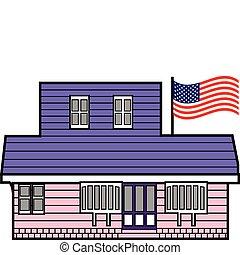 bygning, amerikaner, pol, flag