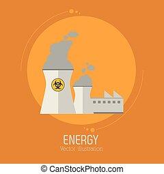 bygning, atomenergien, plante, magt