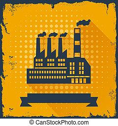 bygning, baggrund., industriel, fabrik