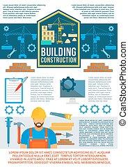 bygning, banner, konstruktion, konstruktion