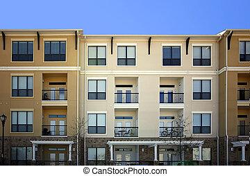 bygning, beboelseslejligheden, (condo), luksus