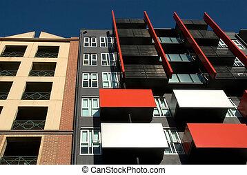 bygning, beboelseslejligheden, exterior