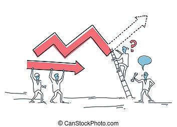bygning, begreb, gruppe, finans, folk branche, graph, oppe, analyse, finansielle, pil, fremmarch, held