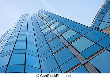 bygning, blå, moderne, himmel, imod