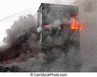 bygning, brændende