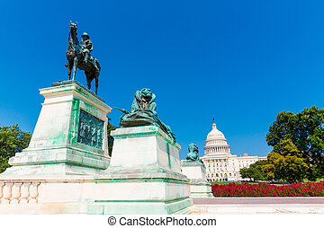 bygning capitolium, washington washington. dc., sollys,...